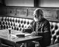 One man and his beer. (James-Burke) Tags: beer guesthouse man candid pub blackandwhite merseyside southport