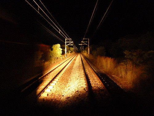 Night view African railroad