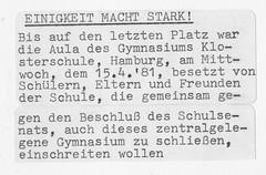 Schulbesetzung_Reher_31 (Klosterschule) Tags: klosterschule hamburg schulbesetzung besetzung schwarzweis blackandwhite history geschichte schulgeschichte historisch school schule 1981 80er 80s