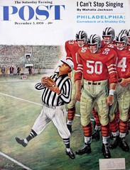 """Five Yard Penalty"" (Retro Reveries) Tags: saturdayeveningpost vintage illustration constantinalajalov alajalov artist midcentury 1950s magazinecover 1950smagazine art 50s football humor referee 1959 cover post"