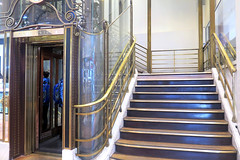 Old elevator and stairs in the Galeries Lafayette (Sokleine) Tags: galerieslafayette elevator ascenseur lift escalier stairs marches steps golden belleépoque grandmagasin departmentstore indoor interior paris 75009 france frenchheritage