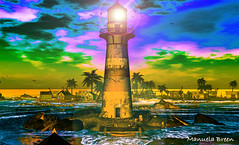 Meet me at the lighthouse... (manuelabreen) Tags: beach sunset romance relax boat ocean sea birds secondlife drawing photoshop sky waves lighthouse