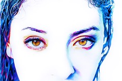Iridescence (Skyler Brown Art) Tags: art artwork beautiful blue bluehair browneyes colorful cool dramatic drawing eyes face female girl gorgeous hair head intense pale paper pen people portrait pretty skin whiteout woman