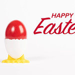 Happy Easter text with red painted Easter egg thumbnail