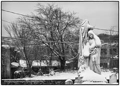 Desolation Angel (Working Image Photography) Tags: cemetery statue monument graveyard urban snow city blackandwhite bw