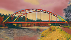 Bonhill Bridge (Rollingstone1) Tags: alexandria scotland bonhillbridge bridge span riverleven westdunbartonshire river water path bank steel tree sky colour vivid outdoor art artwork grass