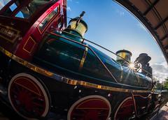 Roger E Broggie train in Main Street station (Groucho Dis) Tags: disneyworld florida magickingdom orlando samyang12mmf28asncsfisheye waltdisneyworld fisheye unitedstatesofamerica us