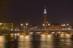 Stockholm City Hall (Svein K. Bertheussen) Tags: stockholm sweden sverige stadshuset cityhall nattbilde nightimage vann water refleksjon reflections