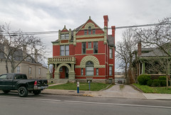 Curtis House — Lexington, Kentucky (Pythaglio) Tags: house dwelling residence romanesque lexington kentucky unitedstatesofamerica us twostory brick ornate latevictorian stone rusticated stonework richardsonian fayettecounty roundarched columns capitals floral voussoirs stainedglass turret finials porch curtis