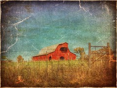 The day before yesteryear..... (Sherrianne100) Tags: textures fence redbarn barn ozarks missouri