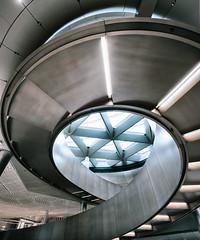 Asymmetric Architecture (Sean Batten) Tags: london england unitedkingdom gb bloomberg spiral staircase city urban nikon d800 1424 architecture building