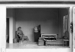 room (kaumpphoto) Tags: mamiya nc1000s kodak 3200 bw black white room doll house fanta soda bed man daddy drink street gingham toy play jug sit alone tmax rug pillow hinge display pitcher miniature figure oldschool