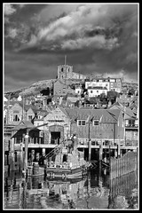 IMG_0006 St Marys Church (Scotchjohnnie) Tags: stmaryschurch stmarysgraveyard lifeboat harbour whitbyharbour riveresk blackwhite mono monochrome 199steps yorkshire northyorkshire canon canoneos canon7dmkii canonef24105mmf4lisusm scotchjohnnie