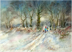 2019/Watercolour:..together for a winterwalk (Nadia Minic) Tags: nature forest winter winterwalk together trees bushes people child women dog cold atmosphere watercolour art contemporary landscape nadiaminic luxembourg snow neige schnee promenade spaziergang hiver aquarelle inexplore