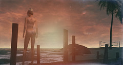 """""""Sunsets are proof that no matter what happens, every day can end beautifully..."""" Maoz Photo Contest #3 (scarlettrose.karsin) Tags: maoz explore beach sl secondlife maitreya genusproject blueberry avatar"""