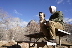 _A7R7784 (KevinXHan) Tags: zions national park nature hiking hike outdoors utah dog golden retriever vacation travel parus trail