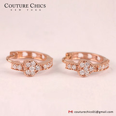 Heart Design Solid 18k Rose Gold Huggie Hoop Earrings Natural Pave Diamond Wedding Jewelry Anniversary / Valentine's Day Gift (couturechics.facebook1) Tags: heart design solid 18k rose gold huggie hoop earrings natural pave diamond wedding jewelry anniversary valentines day gift