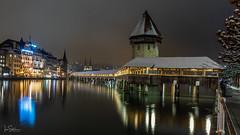 The Chapel Bridge (ivanstevensphotography) Tags: lake night bridge wood trees lights reflection