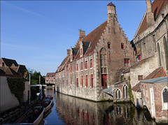 Canal reflections. Bruges. (Country Girl 76) Tags: canal reflections architecture bruges belgium blue sky