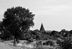 Kirchdorf (Lichtabfall) Tags: landschaft landscape kirche church schwarzweiss monochrome poel kirchdorf ostseeinsel sw bw belltower kirchturm glockenturm baum tree inselpoel insel isle mecklenburgvorpommern