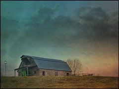 Hilltop.... (Sherrianne100) Tags: sunrise country rural hilltop fence barn ozarks missouri