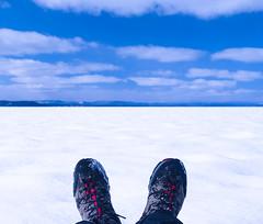 Winter footwear (LEXPIX_) Tags: snow winter lake blue sky clouds boots feet selfie square nikon z6 35mm 18s lexpix