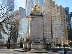 2019 USS Maine Monument Columbus Circle NYC 2300 (Brechtbug) Tags: uss maine monument 1913 beaux arts commemorate controversial sinking battleship 1898 the ship has sculpted representations mythological figures victory peace courage fortitude justice central park entrance nyc 02192019 new york city arms wrapping around rock statue sculpture february 2019 columbus circle