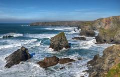 The north coast of Cornwall at Bedruthan Steps (Baz Richardson) Tags: cornwall northcornwall coast cliffs seastacks roughseas bedruthansteps surf breakingwaves