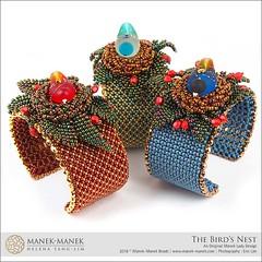 The Bird's Nest (The Manek Lady) Tags: maneklady workshop beading cuff chenille netting lampwork bead fire polish