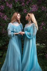 sisters (Melodyphoto3) Tags: photo photography art artphoto fineart portrait vintage dress canon lilac flower