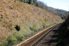 Over the Oxted Line (zawtowers) Tags: london loop section 5 five hamseygreentocoulsdonsouth walk amble stroll walking exploring outer suburbs green spaces sunday 24th march 2019 warm dry sunny afternoon blue skies sunshine east grinstead line railway southern third rail track