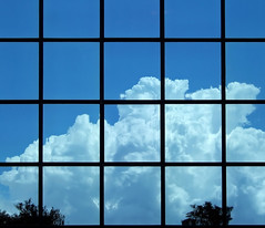 """""""blue"""" (July 2005) (hugo poon - one day in my life) Tags: fujifilm f10 hongkong wanchai harbourroad shuioncentre blue bluesky colours cloud curtainwall summer beautifulday reminiscing reflections office"""