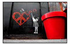 STREET ART by UNIFY (StockCarPete) Tags: unify streetart londonstreetart urbanart flowerpot red hearts london uk stencil