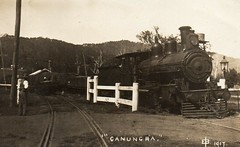 Train at Canungra, Qld - 1917 (Aussie~mobs) Tags: edwinbode canungra queensland australia train vintage locomotive 1917 railwaytracks
