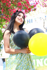 IMG_2710 (Sharmila Padilla) Tags: flowers lady canon portrait ladies balloon outside play pinkflowers pink photography street modes happy joy smile pretty sports white road makeup