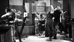 Event Horizon March 2019 027 (byronv2) Tags: music musician woman women makeup stage band krow krowandtheelectrictemple goth gothic punk electro blackandwhite blackwhite bw monochrome dance shorelineofinfinity eventhorizon edinburgh edimbourg scotland frankensteins georgeivbridge