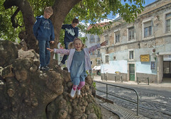 I'm flying! (Anders_3) Tags: lisbon lisboa portugal people girl boys nikon throwback tree jumping play family ds30968v2 fromthearchives street architecture childhood