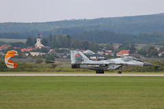 3709 Mikoyan-Gurevich Mig-29AS Slovakian Air Force with parachute Sliac 01st September 2018 (michael_hibbins) Tags: 3709 mikoyangurevich mig29as slovakian air force with parachute sliac 01st september 2018 aeroplane aviation aerospace aircraft airplane aero airfields airport airports military defence strategic tactical fighter bomber multiengined multirole jet jets afterburner afterburners plane planes