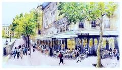 Paris - France - café - restaurant Boulevard du Palais (guymoll) Tags: paris france café people personnages arbres trees aquarelle watercolour watercolor aguarela acuarela