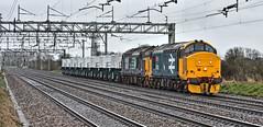 Two Plus Eight (whosoever2) Tags: uk united kingdom gb great britain england nikon d7100 train railway railroad march 2019 crewe cheshire basfordhall chorlton drs class37 37402 37425 nuclear flask shirebrook