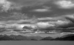 Dusky Sound 2 || New Zealand (David Marriott - Sydney) Tags: southlandregion newzealand nz sound dusky sea ocean mountains cloud sky black white ovation royal caribbean fiordland national park