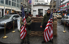 Checkpoint Charlie (Anthony Mark Images) Tags: checkpointcharlie usarmycheckpoint usflags ussoldiers guards starsandstripes eastwestberlincrossing coldwar sandbags sunglasses russianhats cellphone texting berlin germany deutschland touristspot nikon d850 people portrait cars flickrclickx europe
