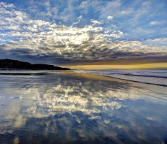 Love of my life (pauldunn52) Tags: beach reflection clouds wet sand cliffs glamorgan heritage coast wales