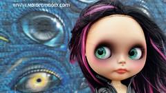 I always feel like somebody's watching me... (Motor City Dolly) Tags: big eyes street art blythe custom doll alpaca purple pink black hair reroot