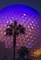 Spaceship Earth at Epcot (jtgfoto) Tags: approved epcot disney waltdisneyworld disneyworld geodesicsphere sphere spaceshipearth florida travel evening dusk palmtree silhouette palms palm tree