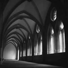 Konstanz Münster / Cathedral (irgendwiejuna) Tags: church cloister blackandwhite hasselblad ilfordfilm ilford delta400 6x6 120 konstanz germany shadow nopeople