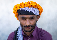 Portrait of a yemeni refugee wearing a floral crown on the head, Jizan Province, Addayer, Saudi Arabia (Eric Lafforgue) Tags: addayer adult arabia colorimage cultures decoration ethnography floralgarland flower flowercrown flowers horizontal indigenousculture jizanprovince ksa lookingatcamera males man marigold men middleeast middleeastern oneadultonly onemanonly oneperson orange photography plant portrait refugee saudiarabia saudi181945 tihama tradition travel tribal tribe waistup war yemeni sa
