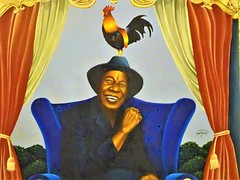 Rooster Man (knightbefore_99) Tags: mexico mexican huatulco cool awesome tropical oaxaca tangolunda art rooster man dude smile painting fantastic black magic coq