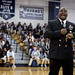 Command Master Chief Antonio D. Perryman speaks to students during a Navy Day at Baker High School held in support of Mobile Navy Week.