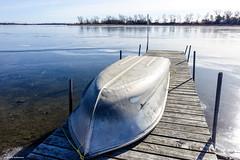 Waiting (gabi-h) Tags: boat thinice dock wellingtonbay princeedwardcounty gabih december trees winter light shadows reflections